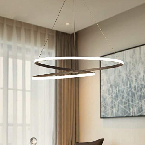 N/Z Home Equipment 66W Candelabro Minimalista Moderno Lámpara Colgante LED Sala de Estar Comedor Dormitorio Personalidad Redonda Negro Diámetro 66cm Luz cálida