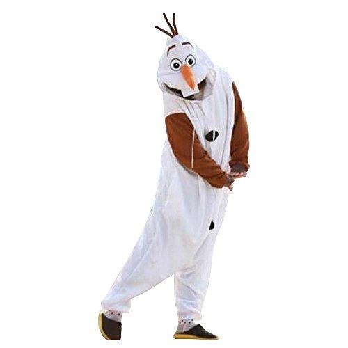 Canberries Damen Herren Tier Onesie Pyjama Schlafanzug Erwachsene Halloween Hai Dinosaurier Eule Zebra Kühe Panda Pinguin Waschbär Schwein Einhorn Cosplay Kostüm(Olaf, M)