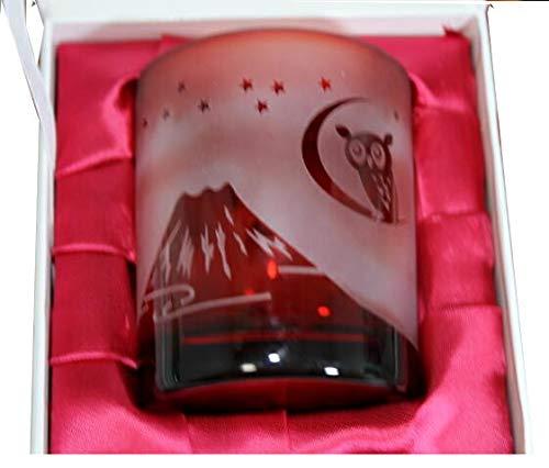 名入れ砂切子オールドグラス赤 (富士山と鶴・富士山とふくろう・七福神) 還暦祝退職記念品