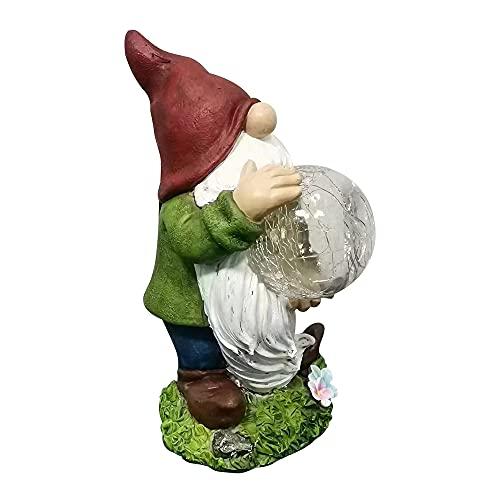 Gartenfigur aus Harz, Gartenzwerg Solar Lichtern Solar LED Lichtern LED Gartenlampen Gartendeko Figuren Solar Leuchte Garten GNOME Statue mit Kristallkugel...