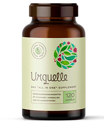 """Urquelle -120 Kapseln - Pflanzliches """"All in One"""" Multivitamin & Multimineral, mit Enzymen und Cofaktoren"""
