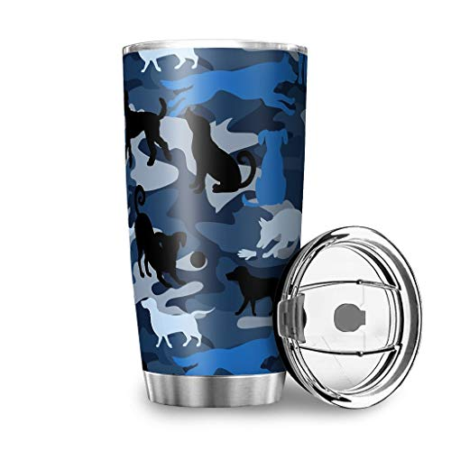 WellWellWell Note Dog Blue Mug with Splash Resistant Lid Stainless Steel Travel Mug 3D Pattern Coffee Cup Travel Mug Reusable Insulated Mug Keeps Hot and Cold for White 600 ml