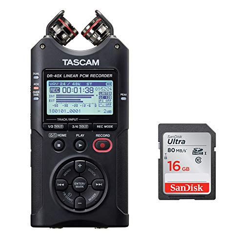 Tascam DR-40X Four-Track Digital Audio Recorder with 16GB Memory Card Bundle