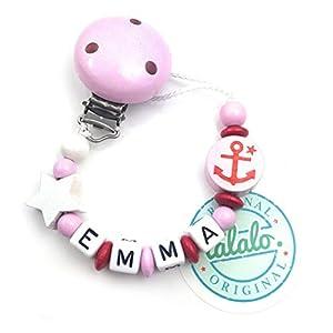Baby Schnullerkette mit Namen, Anker, Boot, Stern, Rosa, Handmade Namenskette/Schnullerhalter zur Geburt, Geburtstag…