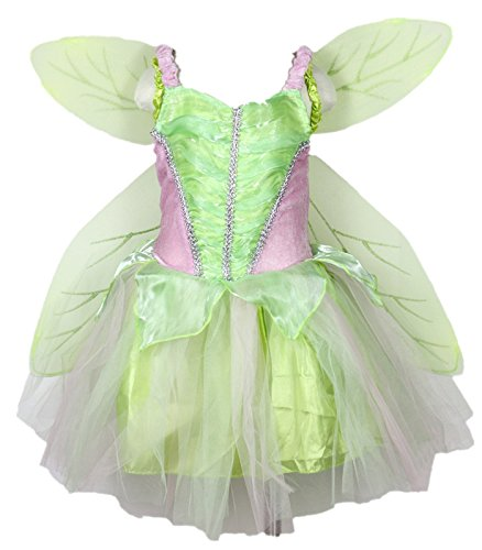 Petitebelle Green Fairy Costume Wing Set Party Dress for Girl Clothing 2-8year (2-4years)