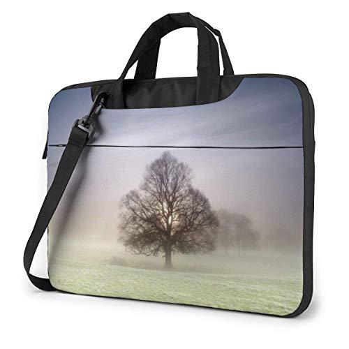 Laptop Shoulder Bag Carrying Laptop Case 15.6 Inch, Fog Landscape Computer Sleeve Cover with Handle