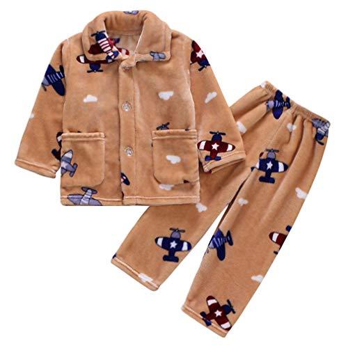DEBAIJIA Baby Hauskleidung 0-12T Kleinkind Heimanzug Kinder Schlafanzüge Junge Nachtwäsche Säugling Pyjama Unisex Mädchen Flanell (Khaki-6)