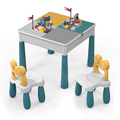 Tisch Stuhlsets Kinder, 90 Stück groß Ziegelbau Spielzeugset.5-in-1 Multi AktivitätTisch/Lerntisch Enthält 2 Stuhl und Bausteintische, kompatible große/kleine Bausteine