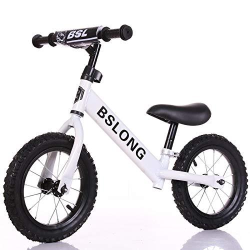 JMSL Coche de Equilibrio para niños 2-6 años de Edad y Mujeres Scooter Infantil 12 Pulgadas Sin pie Caminando en una Bicicleta de autobús-白色充气轮,12