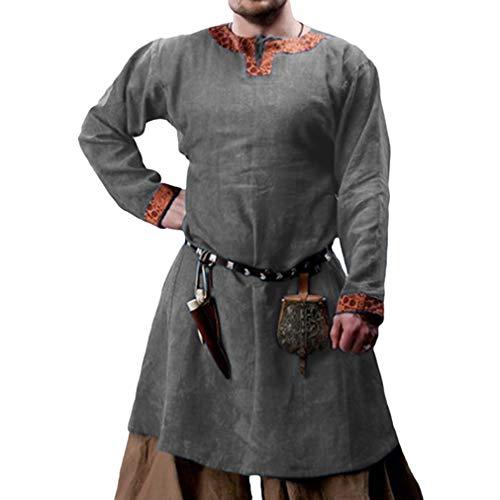 JIXUAN Ritter Cosplay Tunika Halloween Mittelalter Kostüme Für Männer Wikinger Piraten Leistungskostüme Karnevalshemden