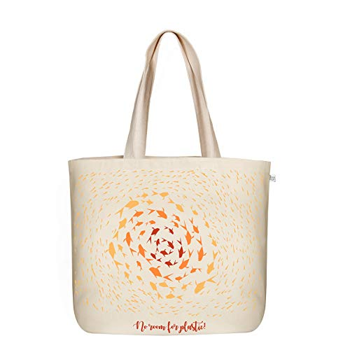 EcoRight Large Canvas Tote Bag for Women, Beach Bags and Totes for Women  No Room For Plastic- Natural   0201A04