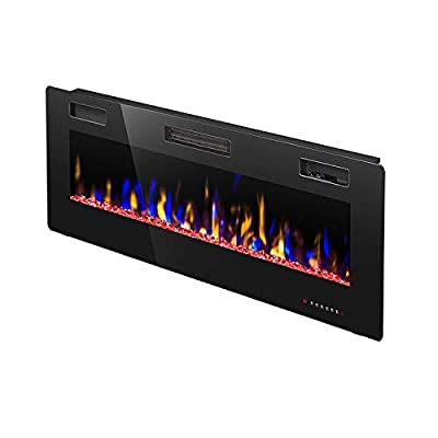 "R.W.FLAME 42"" Electric Fireplace, Fully Recessed Wall Mounted and in-Wall Fireplace Heater, Remote Control with Timer, Touch Screen, Adjustable Flame Colors and Speed, 750/1500W"