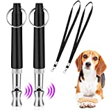 QIUDI Dog Whistle [2 Pack], Professional Ultrasonic Dog Training Whistle With Lanyard Neck Strap and Adjustable Frequencies Recall Training Assistant
