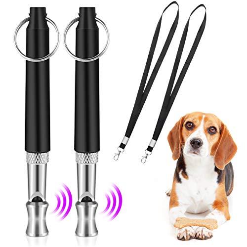 QIUDI Hundepfeife [2 Stücke], Professionelle Ultraschall-Hundetrainingspfeife mit mit Schlüsselband Hund Training Kit und verstellbaren Frequenzen Trainingshilfe