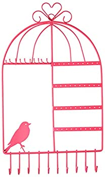 WELL-STRONG Earring Necklace Holder Birdcage Wall Mount Jewelry Organizer Hanger for Girls Pink