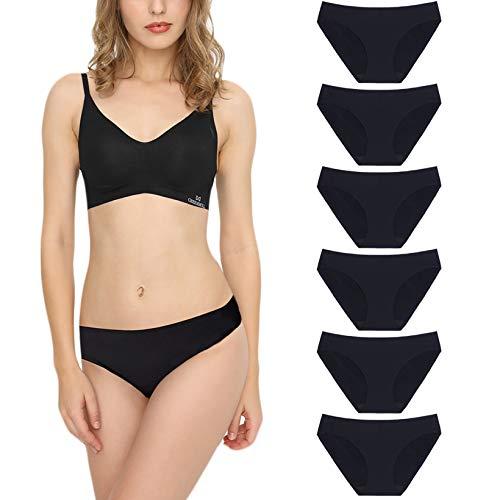 Damen Slips Nahtlos Unterwäsche Seamless Bequeme Panties Hipsters Unsichtbare Dehnbare Bikinis Taillenslips 6 Pack Schwarz S
