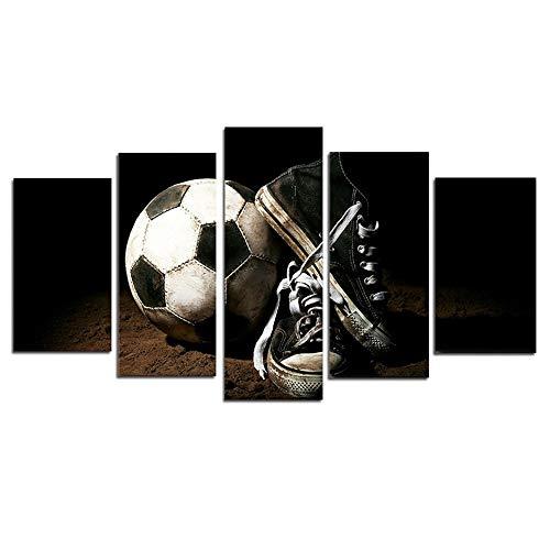 hzyyjj Muurfoto's voor woonkamer 5-delige van voetbal en voetbal schoenen Sport Decoratieve Schilderij Canvas Art Canvas Makkelijk schoon te maken niet gemakkelijk te vervagen