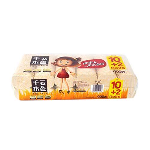 Junlinto,12 Rolls Bamboe Pulp Toiletpapier Handdoeken 4-Ply Dikker Biologisch afbreekbaar Badweefsel