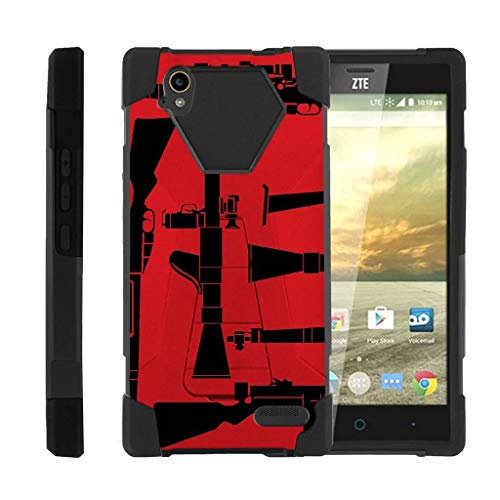 TurtleArmor | Compatible with ZTE Warp Elite Case | N9518 [Dynamic Shell] Dual Layer Hybrid Impact Absorber Fusion Case Fitted Silicone Skin Kickstand - Guns and Missiles