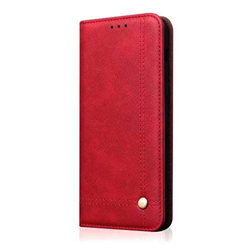 Caso For el caso de Xiaomi Mi 8 Lite, Funda de negocios retro Flip Flip Folio Wallet Funda de cuero magnética protectora con ranuras for tarjetas, soporte de soporte teléfono del shell ( Color : Red )