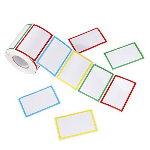 Etiquetas Adhesivas de Nombre Colores 500 Pegatinas 8.8 x 5.5 cm - Pegatinas de identificación de niños para la escuela, frascos, escritorio y botellas, Oficina, Fiestas de Cumpleaños y Ropa
