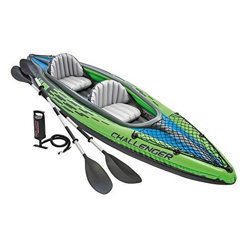 Kayak hinchable Intex línea Challenger K2 diseñado para dos personas (máximo 180 kg), con unas medidas de 351 x 76 x 38 cm En color verde, con gráficos deportivos de gran visibilidad, diseño aerodinámico y fabricado con vinilo de alta resistencia de ...