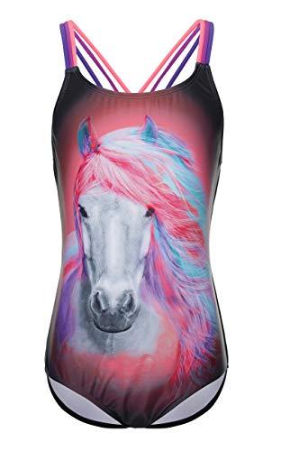 DUSISHIDAN Bademode Kinder Mädchen, Einteiliger Badeanzug mit Dreifarbiger Schultergurt Buntes Purpur Pferd S