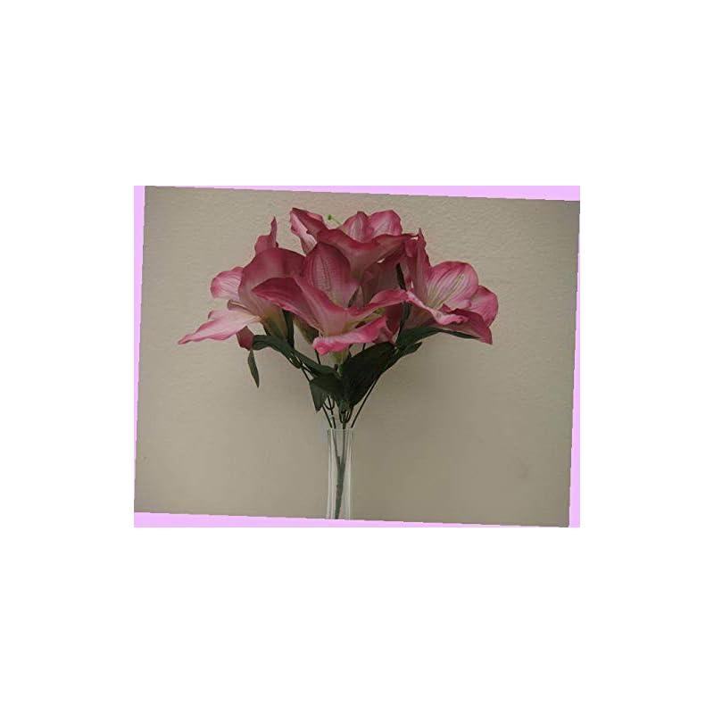 """silk flower arrangements artificial 2 bushes mauve amaryllis artificial silk flowers 16"""" bouquet 6-647mv bouquet realistic flower arrangements craft art decor plant for party home wedding decoration"""
