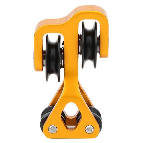 Separador de cuerdas de arco, compuesto de polea, deslizamiento de cable de tiro con arco, divisor de cuerdas de arco compuesto, deslizamiento de rodillos, rodamiento de acero inoxidable(Amarillo)