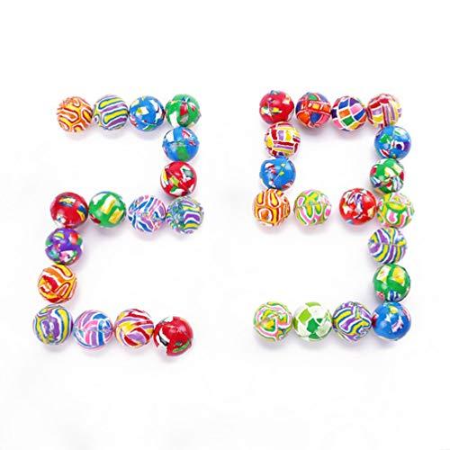NUOLUX 100Pz Mini Palline Super Rimbalzanti Assortite Hi Rimbalzanti Mix di Molti Colori E Disegni Calza Stuffer Bomboniera 22Mm Motivo Casuale