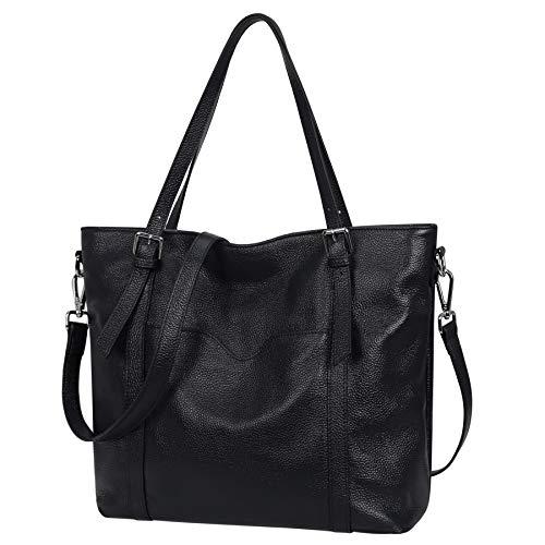 Heshe Womens Leather Shoulder Handbags Designer Satchel Purse Crossbody Bags for Ladies (Black)