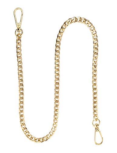 Wallet Chain Pocket Chain belt chains jean chains 22.5' Gold Keychain with Both Ends Lobster Clasps Keys, Wallet, Jeans Pants Belt Loop Purse Handbag-Gold