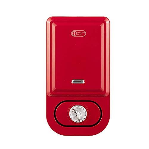 WZLJW Sandwich Press, waflera, calefacción de Doble Cara, Antiadherente Bandeja de Horno, One-Click de Limpieza, Control temporizado de Temperatura, Ligero y Compacto, 600W ggsm (Color : Red)