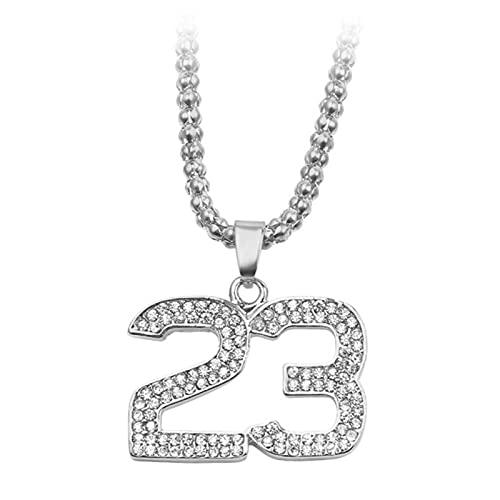 ADON Moda Cristal Hip Hop Baloncesto Leyenda Número 23 Collares Colgantes Bling Oro Cubano Cadena Collar Joyería Para Hombres