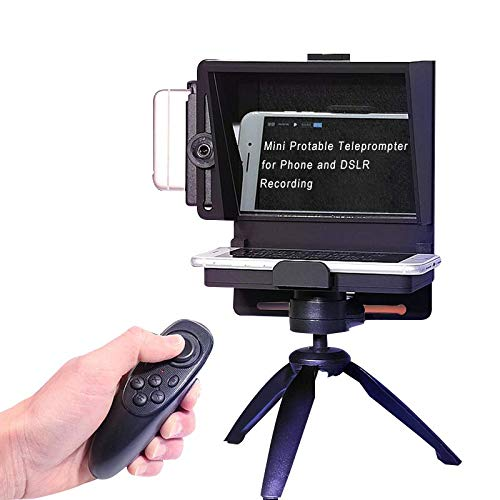 KEAYISOFINE Mini Teleprompter Portable Inscriber Smartphone Teleprompter Artifact Video for Samsung iPhone and DSLR Camera Recording with Remote Control and Mini Tripod