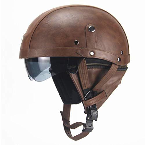 Jie KE Motorfiets Harley helm retro persoonlijkheid helm halve helm zomer pedaal locomotief kruisrit lederen helm vier seizoenen mannen en vrouwen