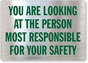 """SmartSign Mirrored Decal, Legend""""Glass Safety Message"""", 3.5"""" high x 5"""" wide, Green on Silver"""