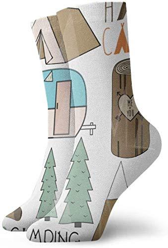 NA Tent Clipart Bear - Calcetines de compresión antideslizantes, acogedores y atléticos,...