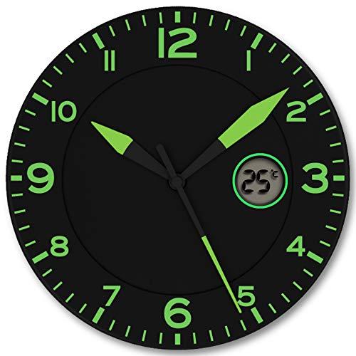 FISHTEC Horloge Murale Design Moderne - Pendule Murale Silencieuse sans Tic Tac - avec Température Digitale - Convient pour la Cuisine, Bureau, Salon, Chambre - 25 CM - Noir & Vert