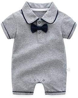 الصيف الطفل شهم الصبي جريل السروال القصير القطن الوليد الملابس بذلة طفل أطفال (Color : Grey, Kid Size : 18M)