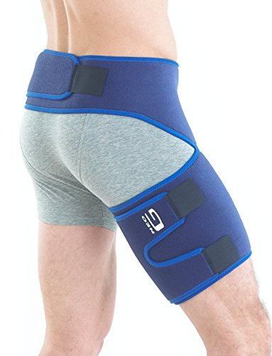 Neo G Groin Brace - Support For Joint Pain, Pulled Groin, Sciatic Nerve Pain, Hip, Thigh, Hamstring Injury, Recovery and Rehab - Adjustable Compression Wrap - Class 1 Medical Device - One Size - Blue