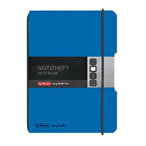 Herlitz 11361573 Notizheft flex PP A6, 40 Blatt kariert, blau