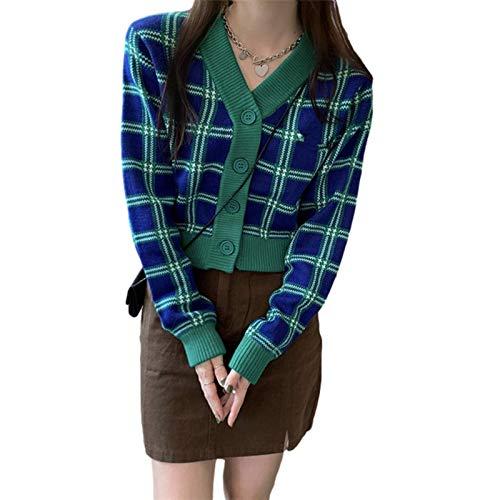 N\C Y2K Harajuku Cárdigan de Punto para Mujer Verde a Cuadros Botón Delgado Suéter Retro Informal