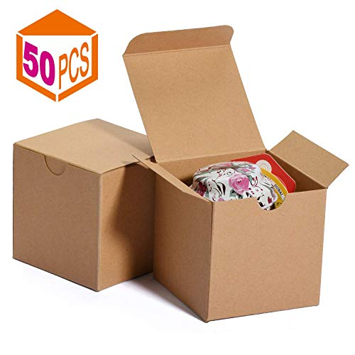 Regalos en Fiestas Pack de 10 Damas de Honor Cajas kraft Galletas Dulces - Cajas Regalo Negras Cajas con Tapa 13 x 12 x 5cm Bodas
