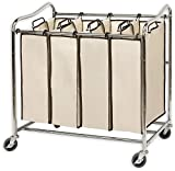 Simplehouseware 4-Bag Heavy Duty Rolling Laundry Sorter Cart, Chrome