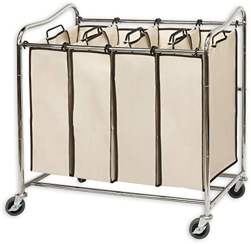 Product Image of the Simplehouseware 4-Bag Heavy Duty Rolling Laundry Sorter Cart, Chrome