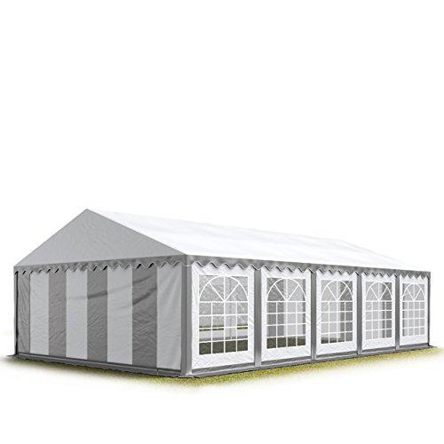 TOOLPORT Tendone per Feste 5x10 m PVC Grigio-Bianco 100% Impermeabile Gazebo da Giardino Tendone da Esterno Tenda Party
