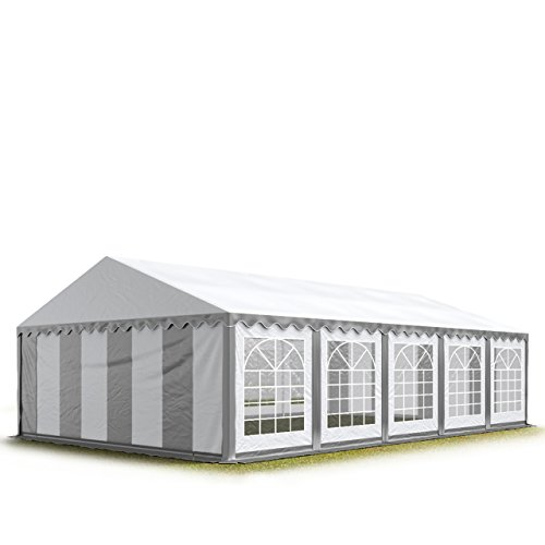 TOOLPORT Party-Zelt Festzelt 5x10 m Garten-Pavillon -Zelt 500g/m² PVC Plane in grau-weiß Wasserdicht
