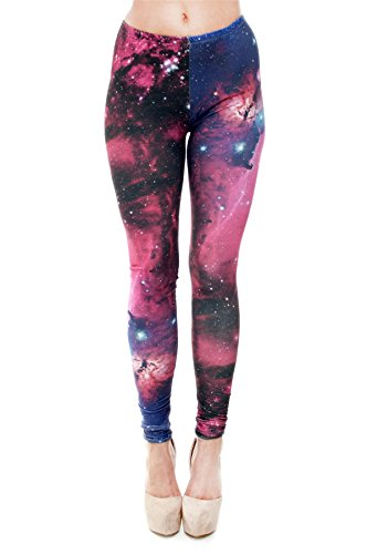kukubird Printed Patterns Women's Yoga Leggings Gym Fitness Running Pilates Tights Skinny Pants 8 to 12 Stretchable - Galaxy Fuchsia