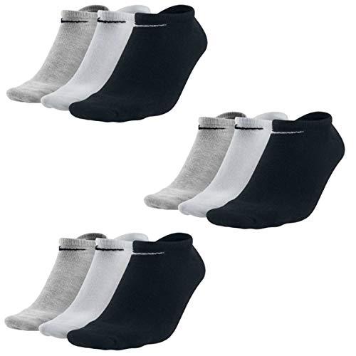 Nike 9 Paar Sneaker Socken No Show Füßlinge schwarz/weiß/Mehrfarbig, Bekleidungsgröße:M, Farbe:schwarz - weiß - grau